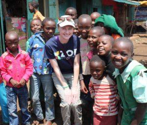 Melissa in Africa with children